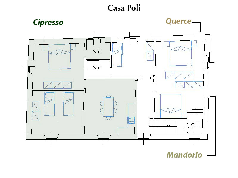 Casa Poli can be rented on residence basis in its entirety or half